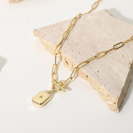 Fashion 14K Gold Plated Copper Square Eight-pointed Star OT Buckle Necklace NHJIE372404's discount tags