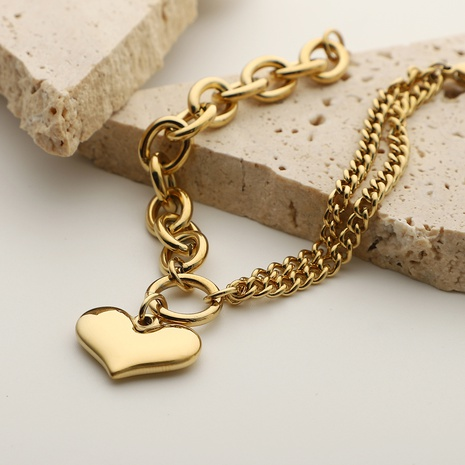 Simple Splicing Smooth Heart Pendant Stainless Steel Chain Bracelet NHJIE372406's discount tags