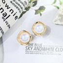 Fashion simple pearl copper earrings wholesale NHQD372429