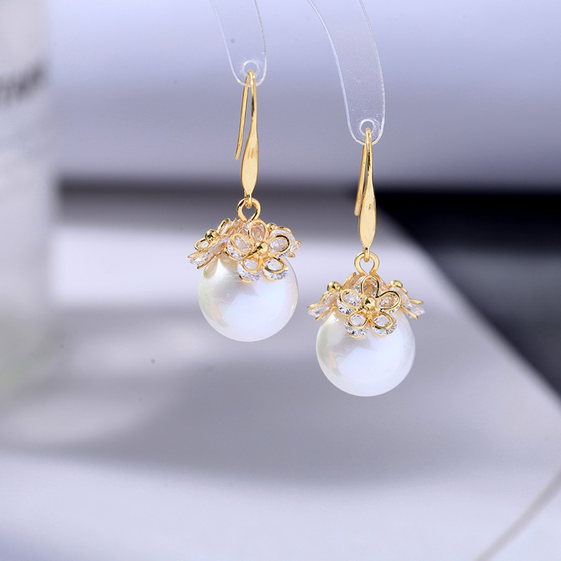 Fashion simple pearl pendant zircon copper earrings NHQD372438