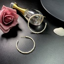 Simple fashion retro pearl Cshaped copper earrings NHQD372444