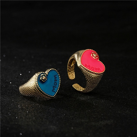 retro bohemian dripping oil heart opening adjustable copper ring  NHFMO372544's discount tags