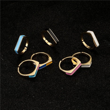 retro dripping oil geometric 18K gold copper opening ring  NHFMO372546's discount tags