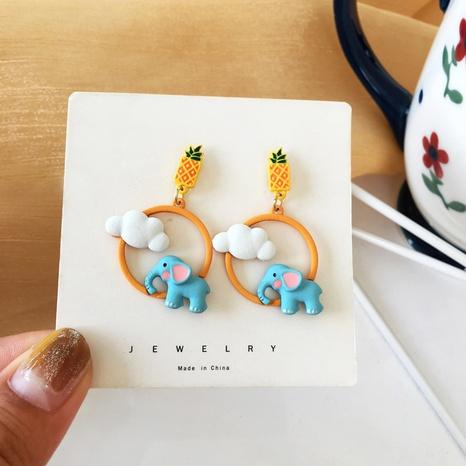 Korean Cute Baby Elephant Fruit Cloud Earrings  NHBY372601's discount tags