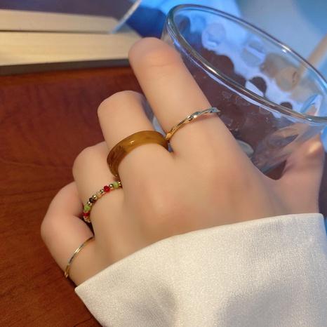 Bague en résine de perles de millet en métal à quatre pièces NHBY372610's discount tags