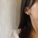 simple style heart shape pearl diamond earrings  NHBY372624