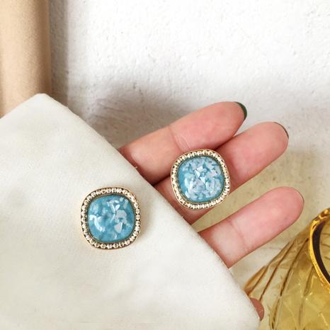 boucles d'oreilles carrées en résine bleue de style rétro NHBY372632's discount tags