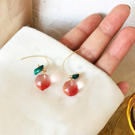 cute pink peach fruit earrings wholesale NHBY372646's discount tags
