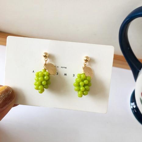 Cute Green Grape Fruit Stud Earrings  NHBY372652's discount tags