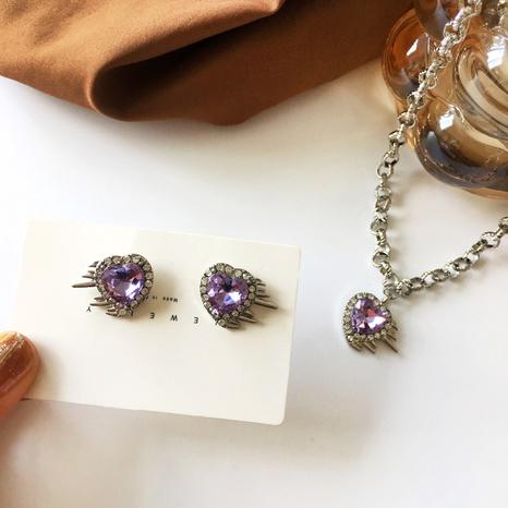 Boucles d'oreilles collier pendentif en forme de coeur diamant violet style rétro NHBY372661's discount tags