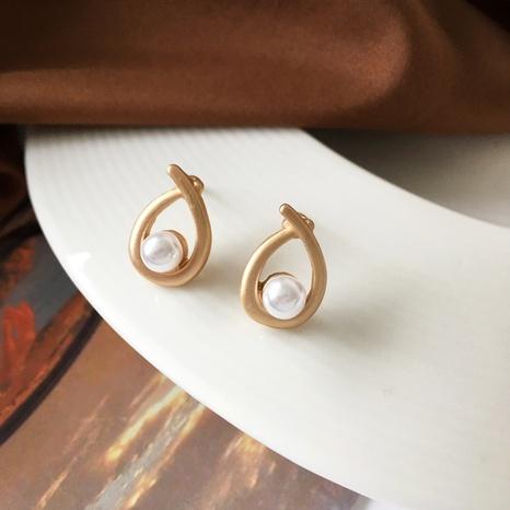 Boucles d'oreilles à petites perles en métal mat de style simple NHBY372663's discount tags