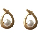 Simple Style Matte Metal Water Drop Small Pearl Earrings  NHBY372663