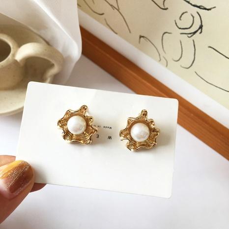 Boucles d'oreilles en perles irrégulières en métal de style rétro NHBY372665's discount tags