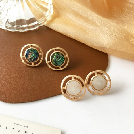 boucles d'oreilles en métal mat de style rétro NHBY372667's discount tags