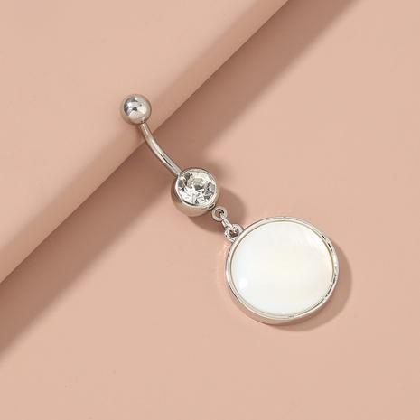 Clou de nombril en acier inoxydable à coquille blanche naturelle ronde à la mode NHAN372716's discount tags