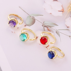 fashion multi-color faceted zircon copper open ring  NHBW372792