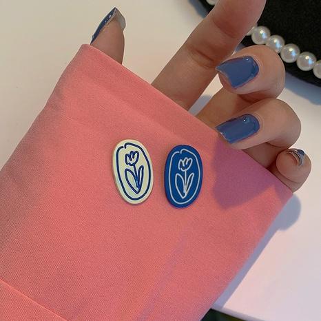 Nihaojewelry Schmuck Großhandel blaue Tulpe Ohrstecker NHOT374540's discount tags