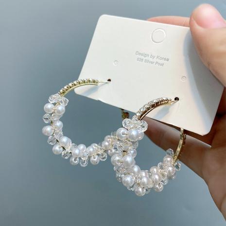 grandes boucles d'oreilles créoles en perles rétro cloutées de diamants en gros NHFS372810's discount tags
