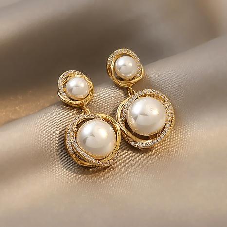 Nihaojewelry jewelry wholesale geometric pearl earrings  NHOT374537's discount tags