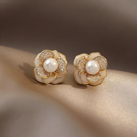 Nihaojewelry jewelry three-dimensional petal pearl stud earrings wholesale  NHOT374536's discount tags