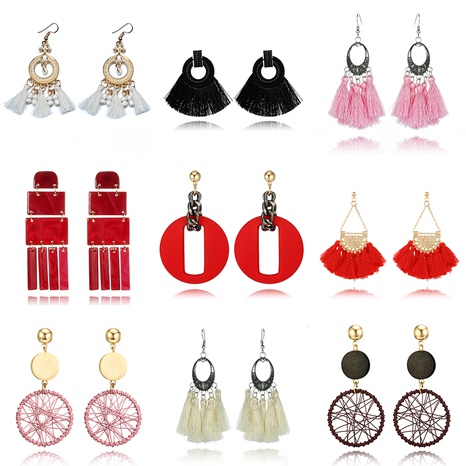 Nihaojewelry ethnic style multicolor long tassels alloy rice bead earrings Wholesale jewelry NHGY374471's discount tags