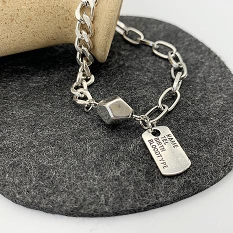 retro letter square brand heart pendant chain bracelet NHGI372825's discount tags