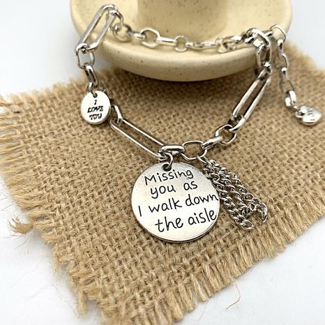 retro round brand letter engraving tassel bracelet NHGI372828's discount tags