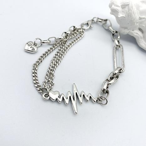 retro hip-hop lightning heart pendant bracelet NHGI372832's discount tags