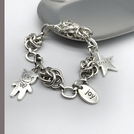 simple retro bear round brand five-pointed star bracelet   NHGI372834's discount tags