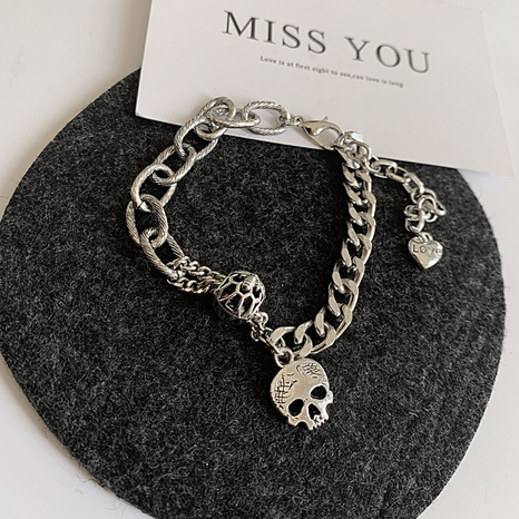 hip-hop fashion skull pendant stackable bracelet NHGI372823's discount tags