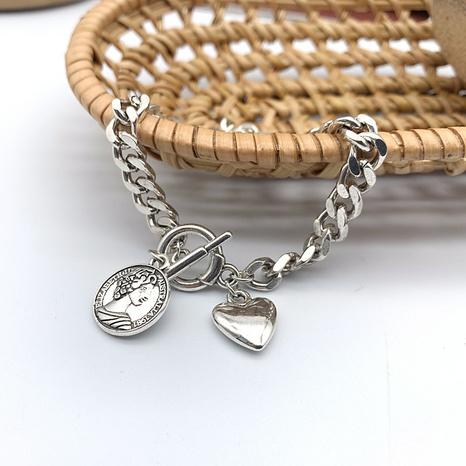retro round goddess brand heart pendant chain bracelet NHGI372836's discount tags