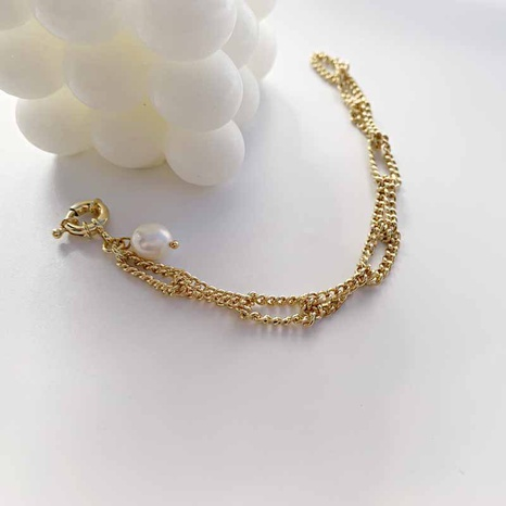 Baroque fashion pearl pendant twist knotted chain copper bracelet  NHGI372839's discount tags