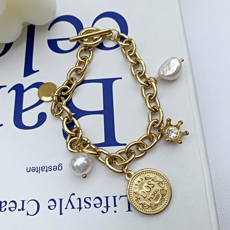 Retro portrait coin crown natural pearl pendant copper bracelet  NHGI372843's discount tags
