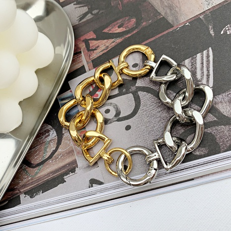 retro punk thick chain contrast color stitching copper bracelet  NHGI372845's discount tags