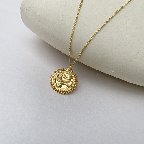 Retro copper inlaid zircon serpentine round brand necklace NHGI372853's discount tags