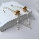 Baroque pearl long tassel copper earrings  NHGI372854