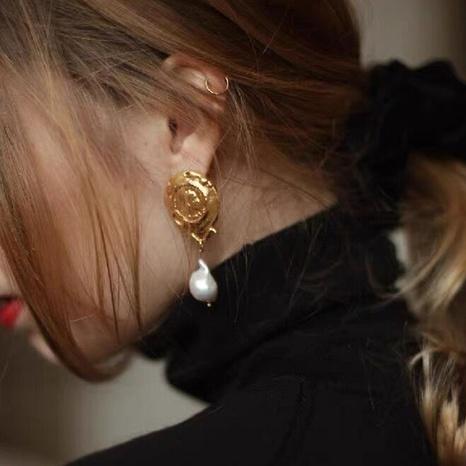 Retro irregular portrait pearl pendant long tassel copper earrings  NHGI372856's discount tags