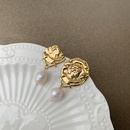 Retro irregular portrait pearl pendant long tassel copper earrings  NHGI372856