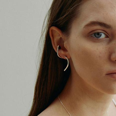 Simple black agate irregular line copper earrings  NHGI372869's discount tags