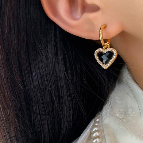 Retro circle heart shape pendant copper earrings  NHGI372871's discount tags