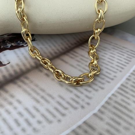 retro geometric thick copper necklace NHGI372872's discount tags