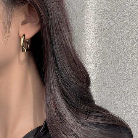 Simple irregular smooth copper earrings   NHGI372874's discount tags
