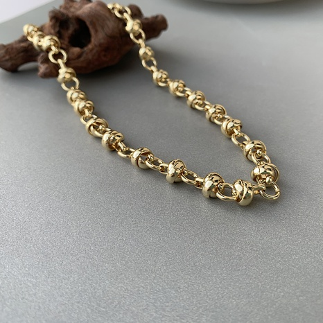 Korean rotating ring chain copper thick necklace NHGI372877's discount tags