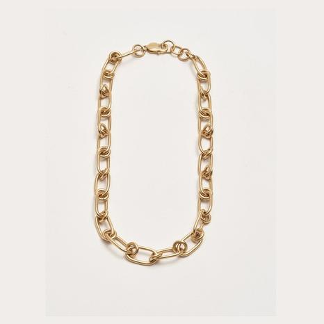 retro geometric thick chain copper necklace NHGI372878's discount tags