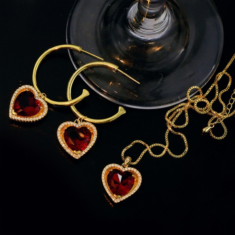 Retro copper ruby heart necklace C-shape earrings set NHGI372881's discount tags