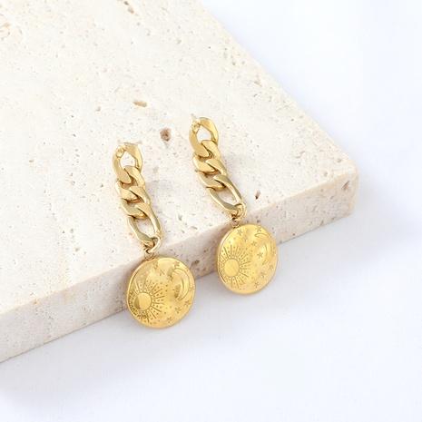 Boucles d'oreilles en acier inoxydable avec insigne de chaîne de soleil de lune de mode simple NHYUN372929's discount tags