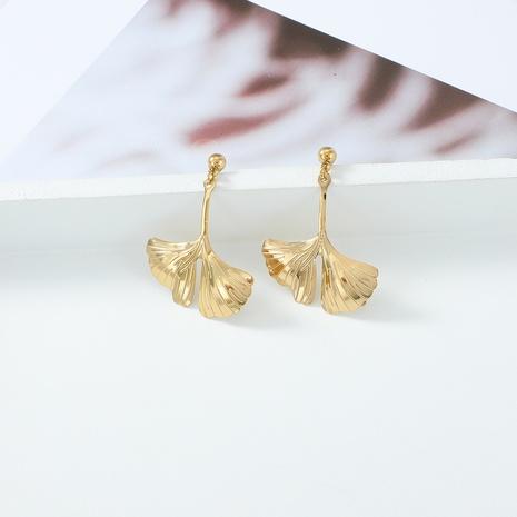 boucles d'oreilles en acier inoxydable feuille de ginkgo doré à la mode NHYUN372933's discount tags