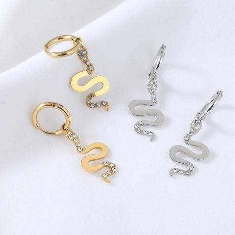 boucle d'oreille en acier inoxydable diamant en forme de serpent doré irrégulier simple NHYUN372931's discount tags