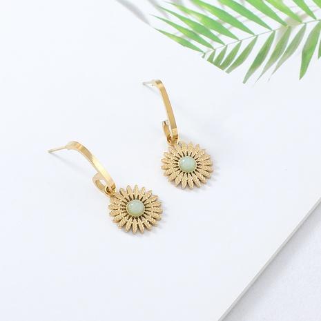 boucles d'oreilles en pierre incrustées de fleurs de soleil à la mode simple NHYUN372934's discount tags