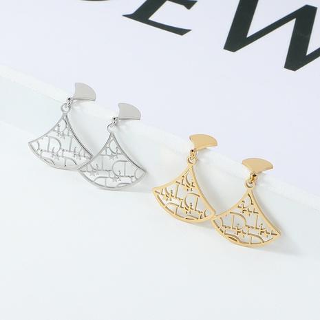 boucles d'oreilles creuses en acier inoxydable simples en forme d'éventail NHYUN372930's discount tags